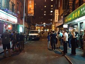 Leaving Joe's Shanghai Manhattan New York City