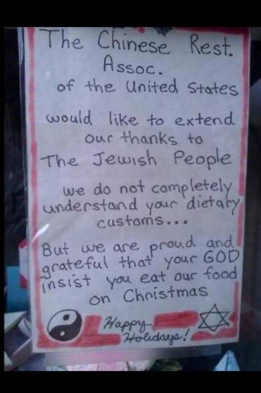 Thanking Jews for Eating at Chinese Restaurants on Christmas