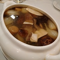 Double-Boiled Dried Scallop, Fish Maws, Sea Cucun Cucumber, Black Mushrooms & Vegetable Soup